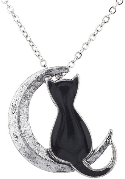 Lux Accessories Burnished Silver Tone Black Cat Crescent Moon Pendant Necklace - CatsInHeart