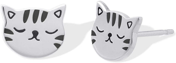Boma Jewelry Sterling Silver Cute Cat Stud Earrings - CatsInHeart