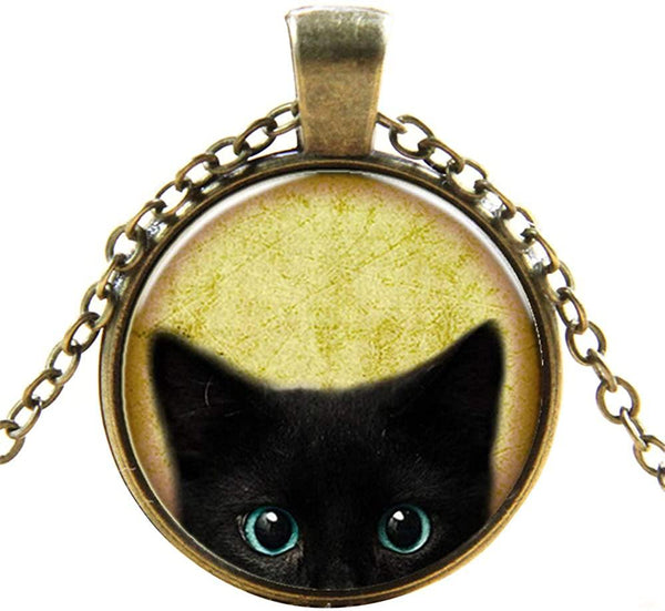 Black Cat Pattern Pendant Necklace Cute Cat Glass Dome Jewelry - CatsInHeart