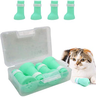 Anti-Scratch Silicone Cat Shoes Boots, Adjustable Nail Cover Precaution Scratch Gloves Cat Paw Protector, Pet Scratching Restraint Booties Kitten Cat Claws Cover for Home Bathing, Shaving Checking - CatsInHeart