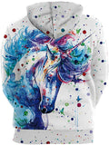 BarbedRose Men's 3D Printed Novelty Hoodies Unicorn Hoodies Sweatshirt - CatsInHeart