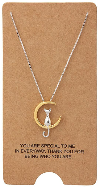 WRISTCHIE Sterling Silver Jewelry Cat On Moon Pendant Necklace 18""
