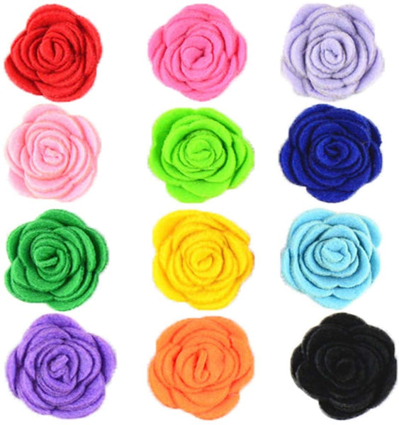 "JpGdn 12pcs 1.6"" Rose Small Dogs Collar Bows Flowers for Doggy Cats Wedding Birthday Party Collars Decor Sliding Accessories"