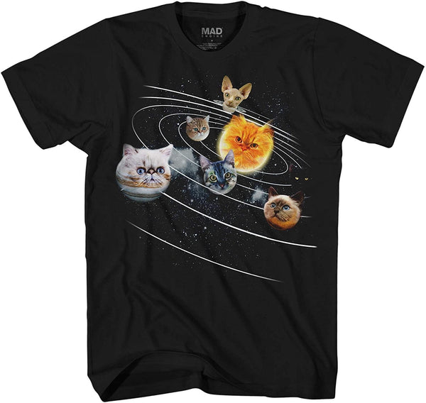 Cat Universe Galaxy Kitten Planets Solar Sun Earth Pluto Funny Humor Pun Adult Men's Graphic T-Shirt - CatsInHeart