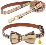 JIATECCO Bow Tie Dog Collar and Leash Set - Adjustable Cute Plaid Soft Dog Bowtie Collar Bandana and Leash, Removable Bowtie and Gold Bell - Dog Accessories for Small Medium Dogs Cats Pets