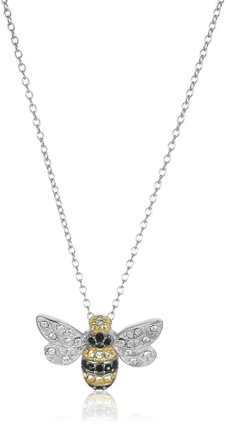 "Sterling Silver Bumblebee Pendant Necklace Made with Swarovski Crystal (18"") - CatsInHeart"