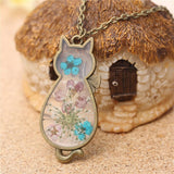 Jude Jewelers Retro Vintage Cat Shape Dry Flower Charm Pendant Necklace