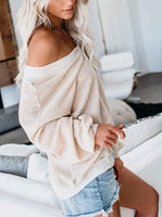 Adreamly Women's V Neck Long Sleeve Waffle Knit Top Off Shoulder Oversized Pullover Sweater - CatsInHeart