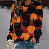 Womens Pumpkin Cat Sweatshirt Casual Loose Fit Graphic Tees Long Sleeve Halloween T Shirt Funny Tops Blouse Pullover - CatsInHeart