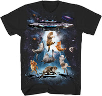 UFO Cats Kitten Cat Lover Outerspace Planets Stars Galaxy Funny Humor Pun Adult Tee Graphic T-Shirt for Men Tshirt - CatsInHeart