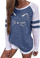futurino Women's Color Block Cat Print Sweatshirt Long Sleeve T Shirt Casual Top Blouse - CatsInHeart