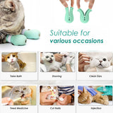 Anti-Scratch Cat Boots Gloves, 4 Pcs Soft Adjustable Silicone Kitty Nail Cover, Pet Care Grooming Anti Scratching Shoes for Bathing, Nail Clipping, Ears Cleaning, Checking, Feeding Medicine, Treatment - CatsInHeart