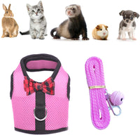 nononfish Guinea Pig Accessories with Leash Adjustable Soft Mesh Small Pet Harness with Safe Bell Comfort Padded Vest Durable Nylon Harness for Rats,Iguana,Bearded Dragon, Baby Ferret