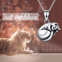 Cat Urn Necklace for Ashes Sterling Silver Cat Keepsake Pet Memorial Pendant Jewelry Gift for Women Men - CatsInHeart