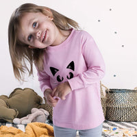 Kids Long Sleeve T Shirt Cat Face with Whiskers Cotton Boy & Girl Clothes - CatsInHeart