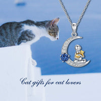 AOBOCO Cat Gifts for Cat Lovers Sterling Silver Moon Cat Pendant Necklace Jewelry with Crystals from Swarovski, Birthday Gifts for Women Wife Girlfriend - CatsInHeart