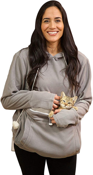 KITTYROO Cat Hoodie, The Original AS SEEN ON TV Kitty Carrying Sweatshirt, with Super Soft Kangaroo Pet Pouch - CatsInHeart
