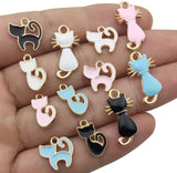 iloveDIYbeads 48pcs Assorted Gold Plated Enamel Cat Charm Pendant for DIY Jewelry Making Necklace Bracelet Earring DIY Jewelry Accessories Charms (M161) - CatsInHeart