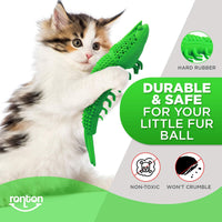Ronton Cat Toothbrush Catnip Toy - Durable Hard Rubber - Cat Dental Care, Cat Interactive Toothbrush Chew Toy