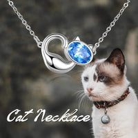 LUHE Sterling Silver Cat Necklace Kitty Pendant, Cat Gifts for Cat Lovers, Cat Jewelry for Women - CatsInHeart