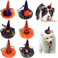 CheeseandU 6Pack Halloween Hats for Pet Dog Cat Halloween Witch Hat with Pumpkin Flower Bat Decor Spider Web Printed Adjustable Cute Top Hat Headwear Holiday Party Apparel Accessory