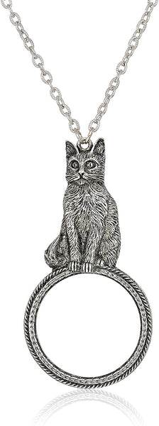 1928 Jewelry Women's Pewter Cat Magnifying Glass Pendant Necklace 30 inch, Silver, One Size - CatsInHeart