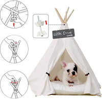 little dove Pet Teepee Dog(Puppy) & Cat Bed - Portable Pet Tents & Houses for Dog(Puppy) & Cat Beige Color 24 Inch (with or Without Optional Cushion)