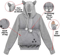 Naive Shine Women's Kangaroo Hoodies Long Sleeve Pet Cat Dog Holder Carrier Sweatshirt - CatsInHeart