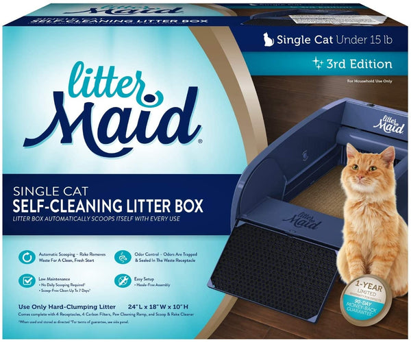 LitterMaid Single Cat Self-Cleaning Litter Box, Blue