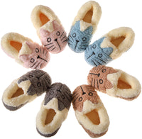 Baby Toddler Boys Girls House Slippers Kids Cartoon Cat Fuzzy Winter Warm Home Indoor Bedroom Shoes - CatsInHeart