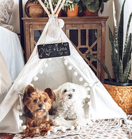 little dove Pet Teepee House Fold Away Pet Tent Furniture Cat Bed with Cushion 28 Inch Beige Pompom(with/Without Pad as You Choose)