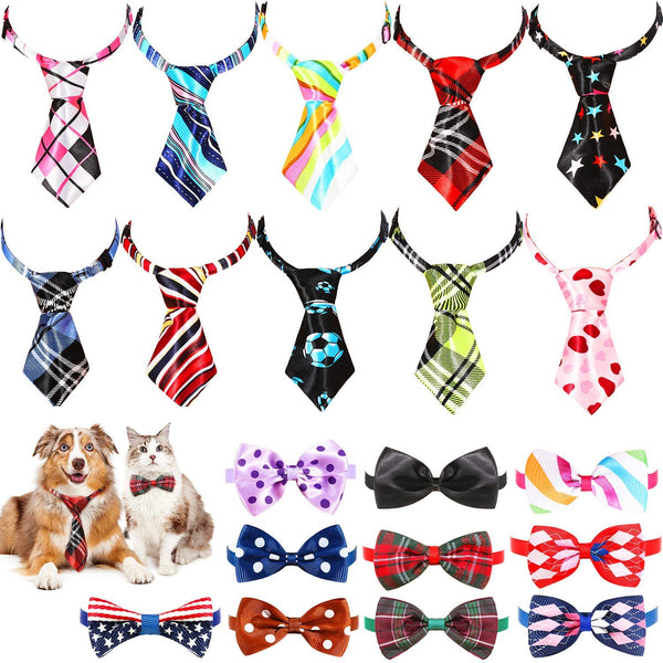 Frienda 20 Pieces Dog Ties Assorted Small Pet Bow Ties Festival Neckties with Adjustable Collar for Dog Cat Grooming Accessories for Daily Wearing Birthday Photography Holiday Festival Party Supplies