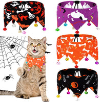 Weewooday 4 Piece Halloween Dogs Bandanas Halloween Dogs Collar with Bells Adjustable Pumpkin Pet Cat Bandana Neck Chain Choker Jewelry Cosplay Party Costume Accessory Decoration for Cat Dog Puppy Pet
