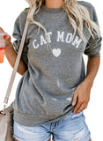 Heymiss Womens Tops Cat Dog Mom Shirts Long Sleeve Crewneck Graphic Tees - CatsInHeart