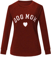 Seoullifee Dog Mom Cat Mom Sweatshirts Long Sleeve Crew Neck Letter Print Shirts Blouse Top - CatsInHeart