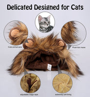Onmygogo Lion Mane Wig for Cats and Dogs, Funny Pet Cat Costumes for Halloween Christmas, Furry Pet Clothing Accessories