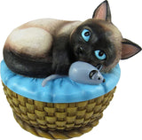 World of Wonders - Meow & Forever Series - Kitten Keeper - Collectible Seal Point Siamese Kitty Cat with Mouse Toy Decorative Jewelry Holder Trinket Container Stash Box Keepsake Figurine, 5-inch - CatsInHeart