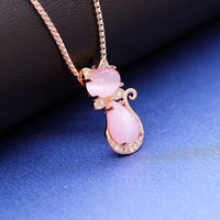 Uloveido Cute Cat Shape Pink Crystal Studs Earrings and Pendant Necklace for Teen Girls Y404 - CatsInHeart