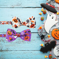Pohshido 2 Pack Halloween Cat Collar with Movable Bow Tie and Bell, Holiday Kitty Kitten Safety Breakaway cat Collar with Cute Pumpkim and Spider Charm Pendant(Adjustable Size from 7.8-12.8 inch)