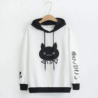 Hooded Sweatshirts Women Spring Cute Cat Printed Long Sleeve