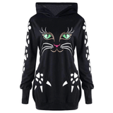 Cat Printed Sweatshirt Hoodie With Cat Ears Pockets Casual Hooded