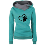 Cat Dow Paw  Print Hoodies Women Tops Pockets  Cotton