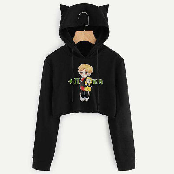 Women ARMY BTS BT21 Printed Hoodies Crop Tops Cute Cat Ear