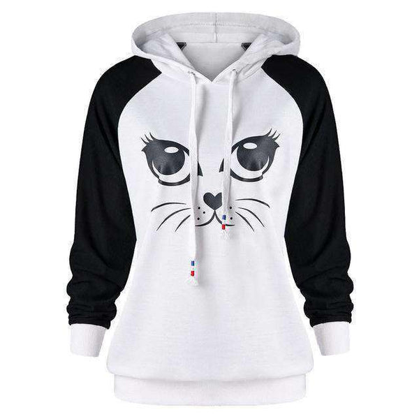 Kawaii Cat Printed Hoodie Women's  Long Sleeve Sweatshirt