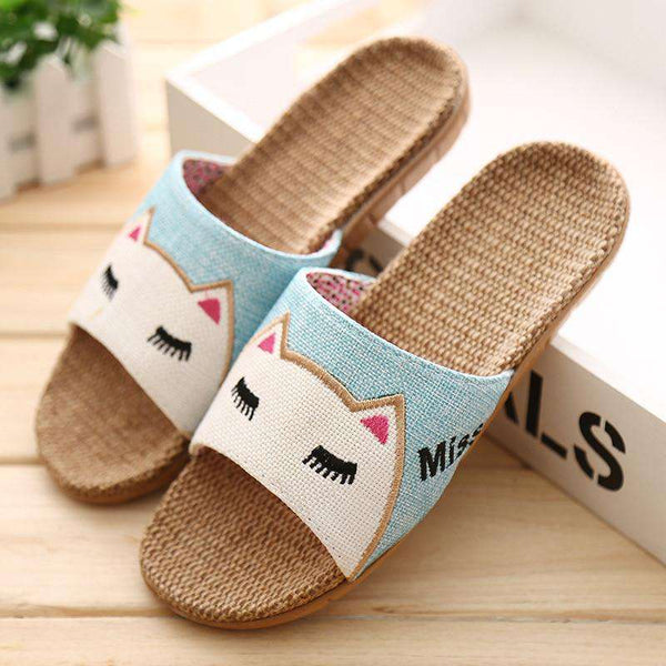 Cartoon Lovers Indoor Slippers Rabbit Cat Summer Flax Slippers Womens Mens Beach Sandals Home Floor Shoes