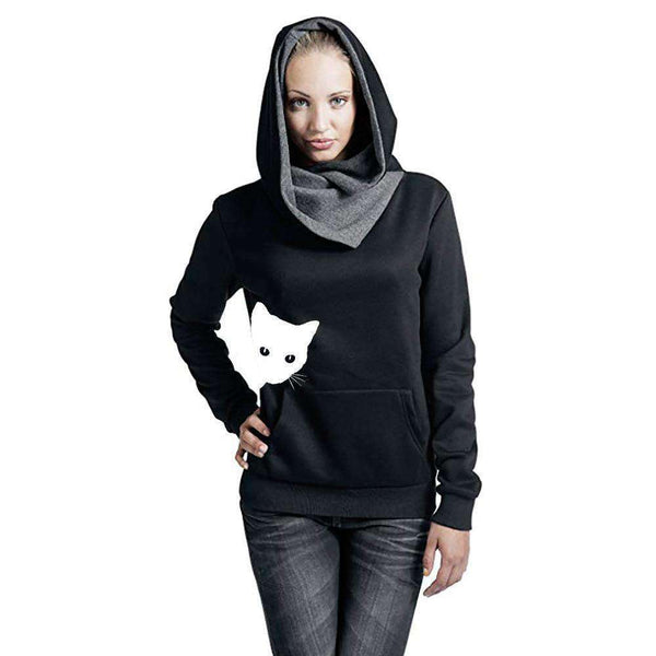 Fashion Women Sweatshirt Femmes Hoodies Casual Cat