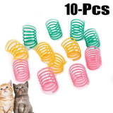 10 pcs Cute Cat Spring Toys Wide Durable Heavy Gauge Plastic Colorful Springs Cat Toy Playing Toys For Kitten Pet Accessories - CatsInHeart