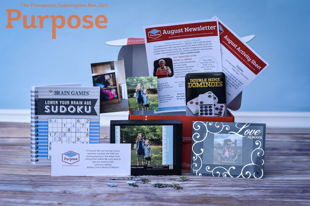 August Cognition Subscription Box. Word puzzles, personalized puzzle, dominoes, and Purpose Newsletter in a bright orange box
