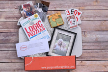 Load image into Gallery viewer, Purpose Therapy Box cognition theme filled with functional products to enhance executive functioning
