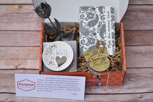 Purpose The Therapeutic Subscription Box, LLC Thinking of You Box Women's version filled with unique sentimental gifts